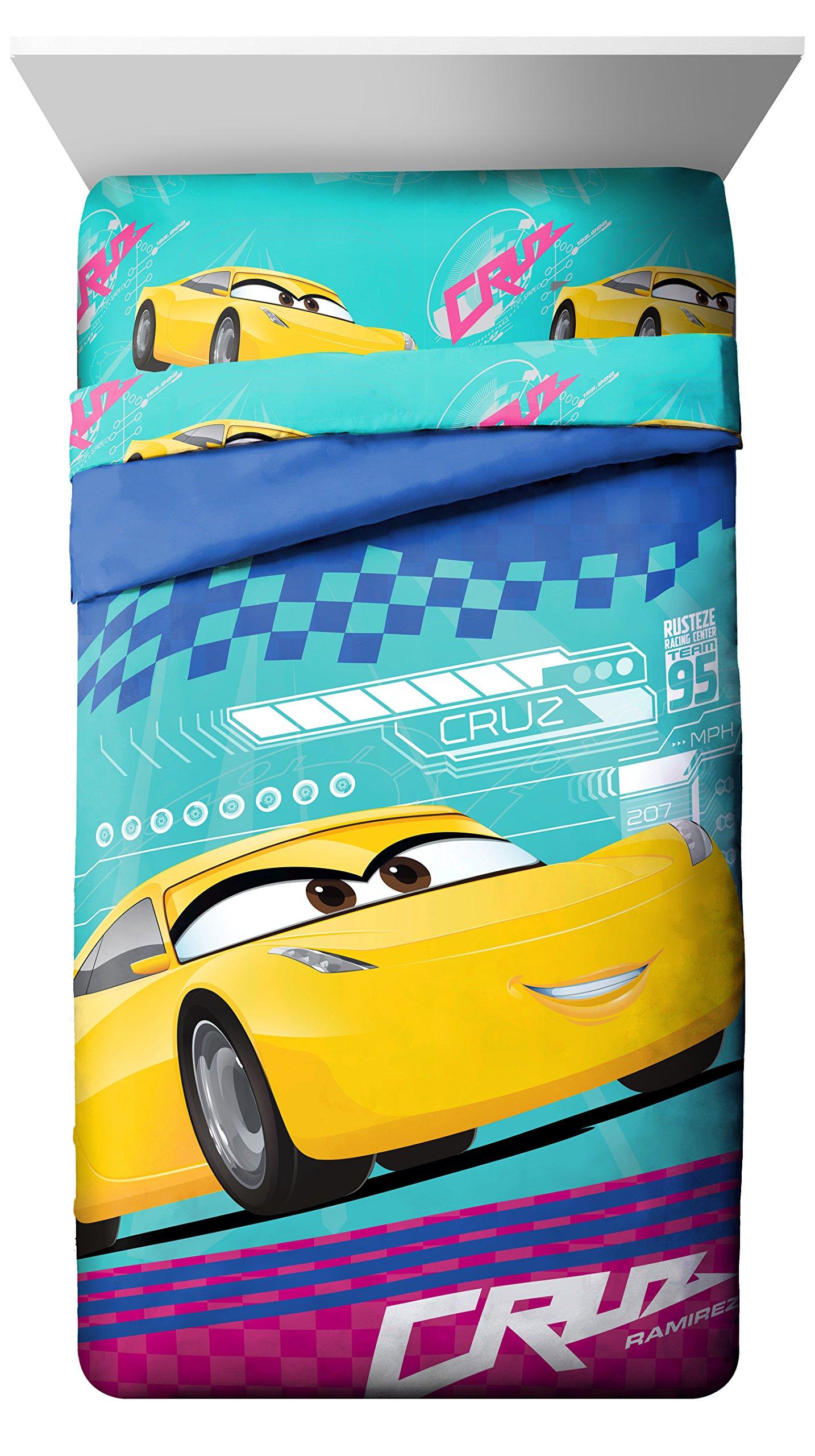 Disney/Pixar Cars 3 Movie Cruz Twin/Full Reversible Yellow/Teal/Pink/Blue Comforter with Cruz Ramirez (Official Disney/Pixar Product)