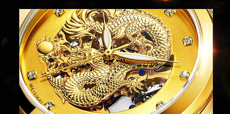 Montres Homme,Montre Individuelle De Volant De La Tour De Nuit en Tour De Machines De Montre De Dragon Chinois Golden Black