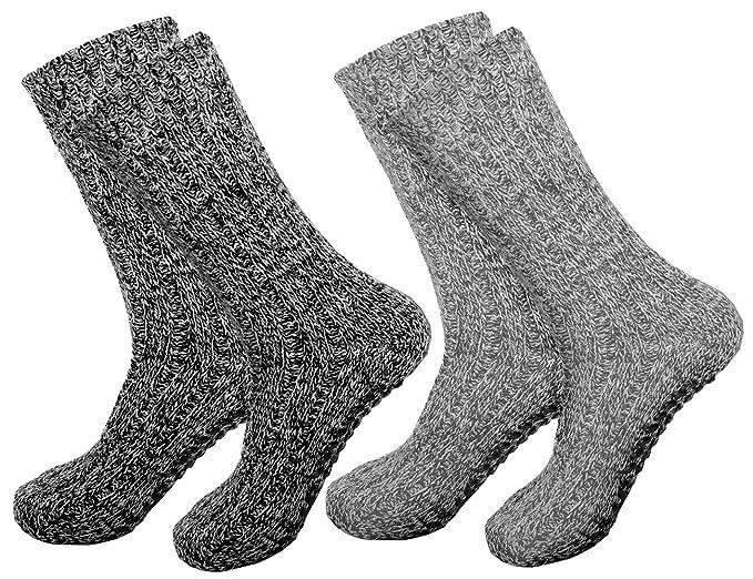 Calcetines noruegos ABS antideslizantes con lana de oveja, para hombre y mujer Gris gris plateado