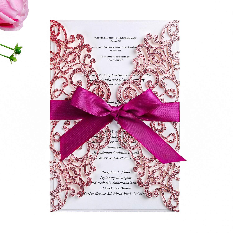 8bfeca24081 PONATIA 25PCS Laser Cut Hollow Rose with Drill Invitation Card Wedding  Bridal Shower Engagement Birthday Graduation Invitation Cards (Rose Gold  Glitter + ...