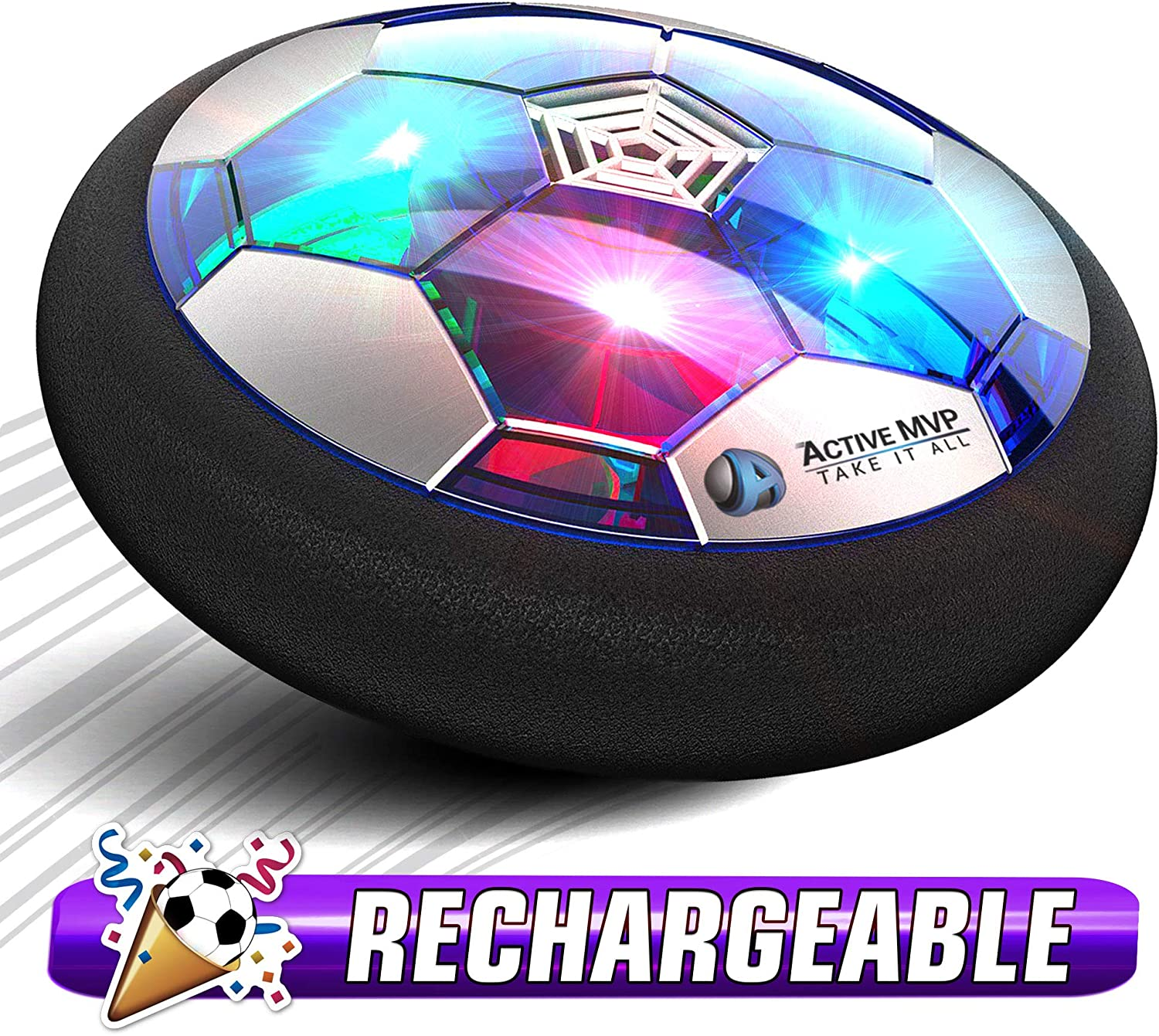 ActiveMVP Kids Toys Hover Soccer Ball Rechargeable - Indoor LED Light Up Air Power Kick Disc Fun Game - Rainy Day Time Killer - No AA Battery Needed - Gift for Boys Girls Age 3 4 5 6 7 8 9 10 11-16