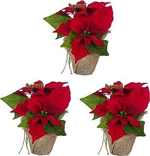 Amazon De Weihnachtsstern Im Topf Deko Blume Kunstpflanze