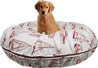 product image for BESSIE AND BARNIE Water Resistant Red Sail Boat Indoor/Outdoor Durable Bagel Pet/Dog Bed with Removable Cover (Multiple Sizes)