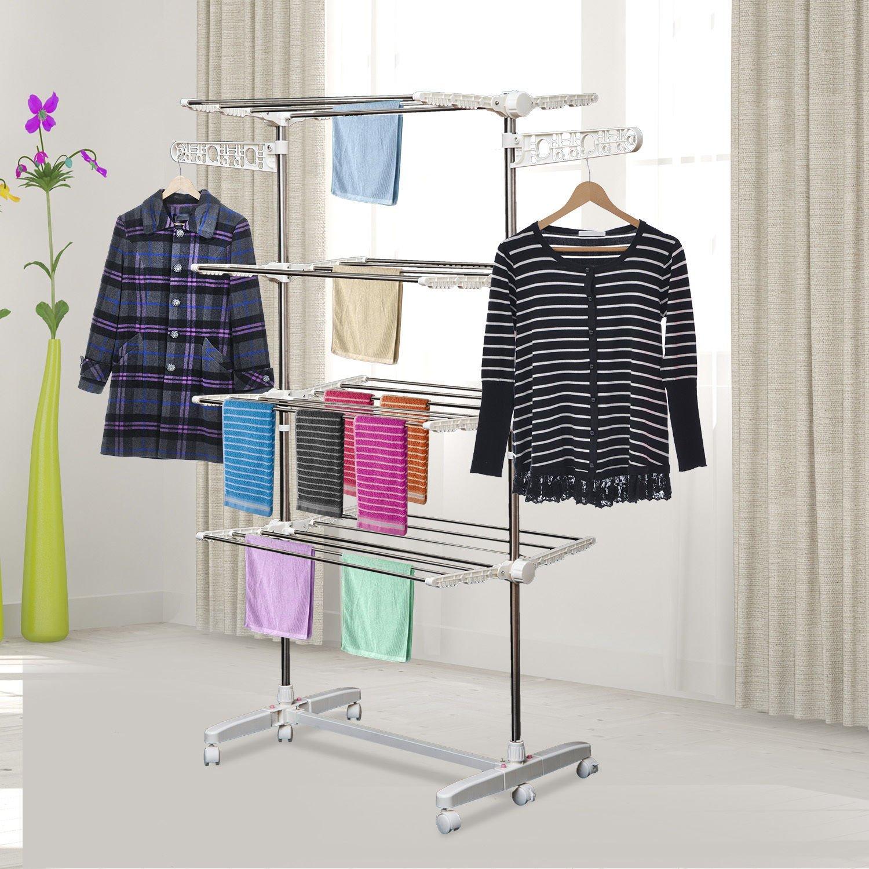 Homcom Folding Cloth Rail Adjustable Garment Rack With Wheels (4