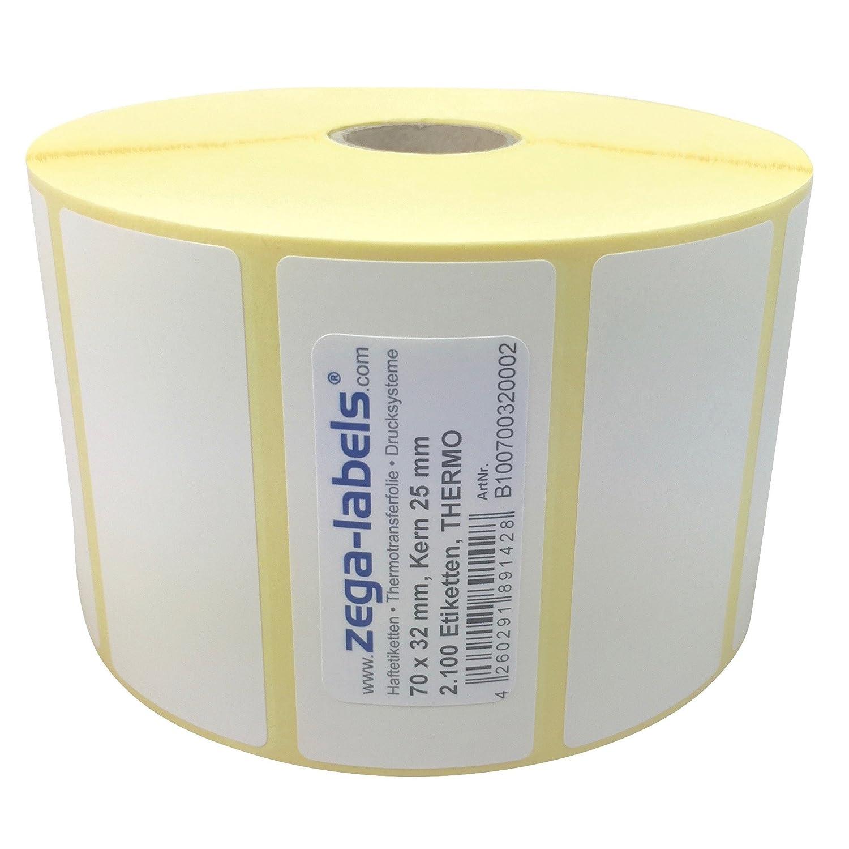 permanent haftend Drucken ohne Farbband Kern: 25 mm 102 x 64 mm 1.100 St/ück je Rolle aussen gewickelt Druckverfahren: Thermodirekt Thermo Etiketten auf Rolle