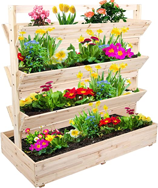 Jardinera de madera con mucho espacio de soporte vertical con 4 niveles: Amazon.es: Jardín