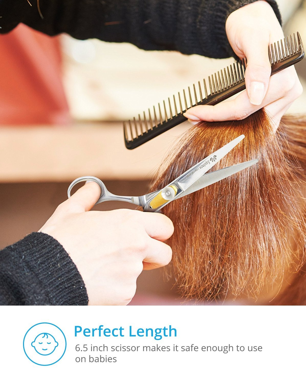 Equinox Professional Shears Razor Edge Series - Barber Hair Cutting Scissors/Shears - 6.5'' - Japanese Stainless Steel Hair Scissors – Mustache Scissors and Barber Scissors with Fine Adjustment Screw by Equinox International (Image #5)