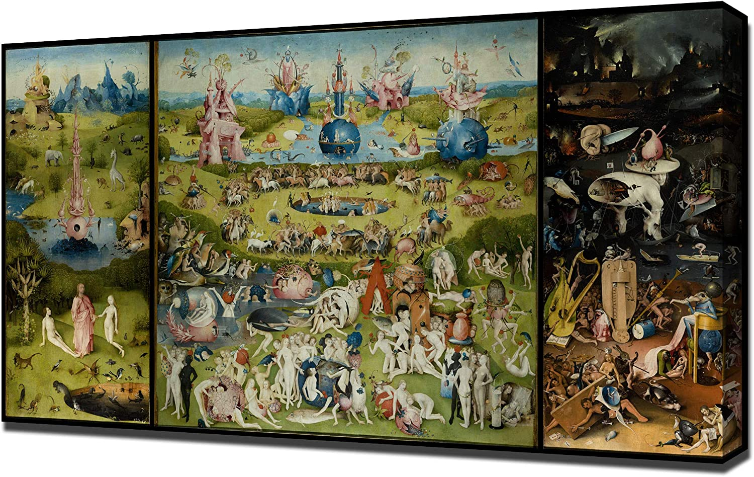 PingooPrints Hieronymus Bosch - The Garden of Earthly Delights High Resolution - Canvas Art Print - Wall Art - Canvas Wrap