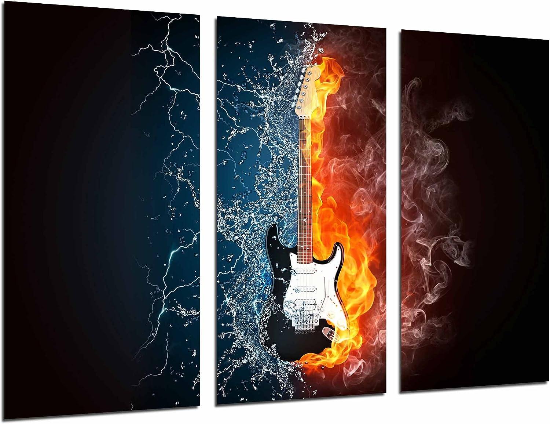 Cuadro Fotográfico Guitarra Electrica Fuego y Agua, Fender Stratocaster Tamaño total: 97 x 62 cm XXL