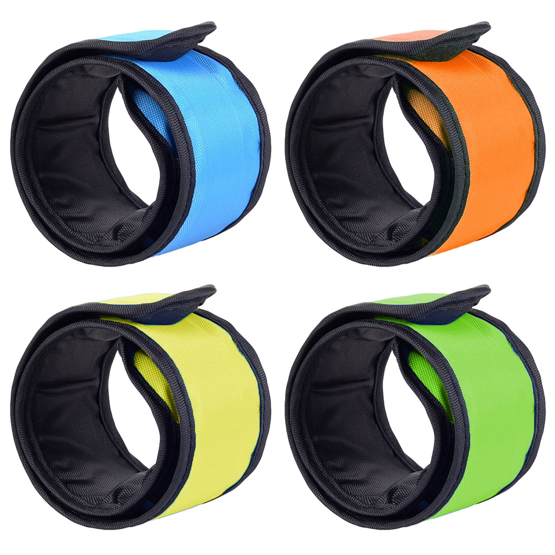 4ピースLEDグローライトアップBand Slap夜の安全ブレスレットリストバンドforサイクリングジョギングウォーキングランニングコンサートキャンプアウトドアスポーツ  B B074CXDPW6