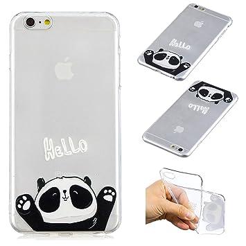 QFUN Funda iPhone 6 Plus/6S Plus Silicona Transparente, Suave Carcasa Flexible con Dibujos [Panda Hello] Ultra Slim Fina Gel TPU Bumper Case ...
