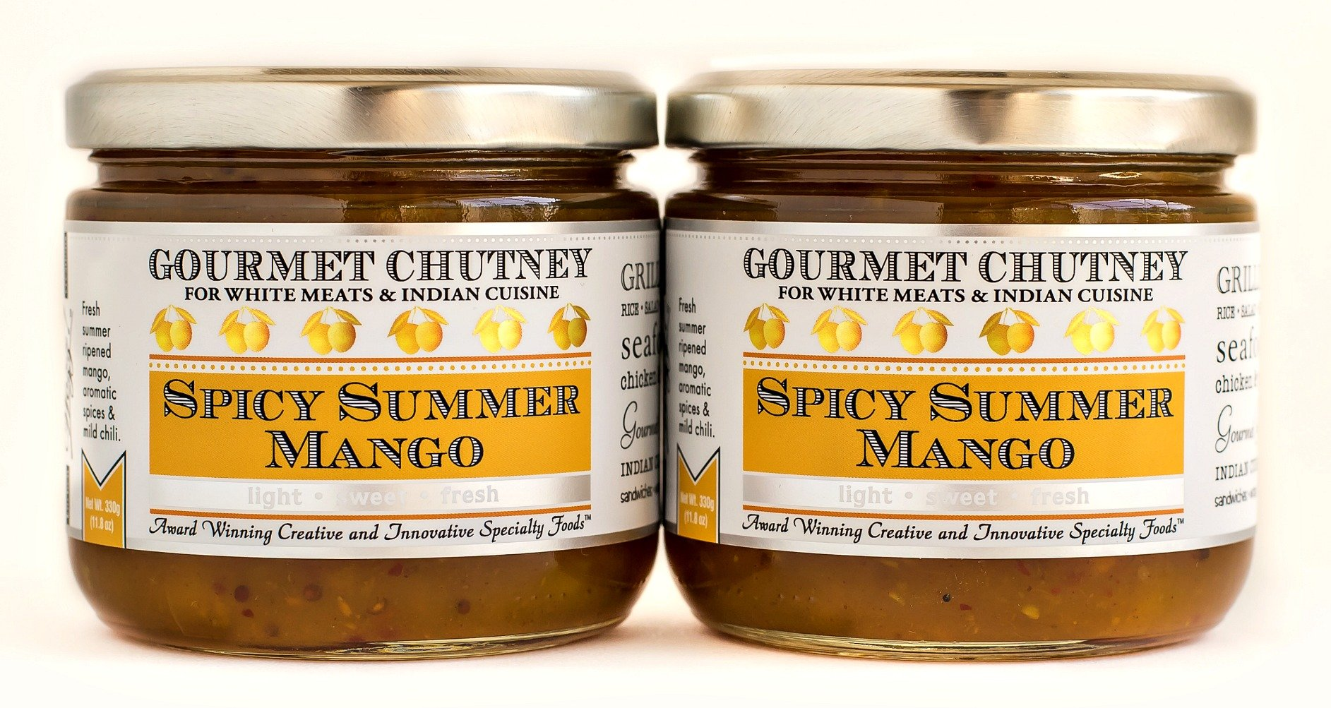 Wozz Kitchen Creations Spicy Summer Mango Chutney Set of 2 (each jar weighs 11.8 ounces) - All Natural - NON GMO