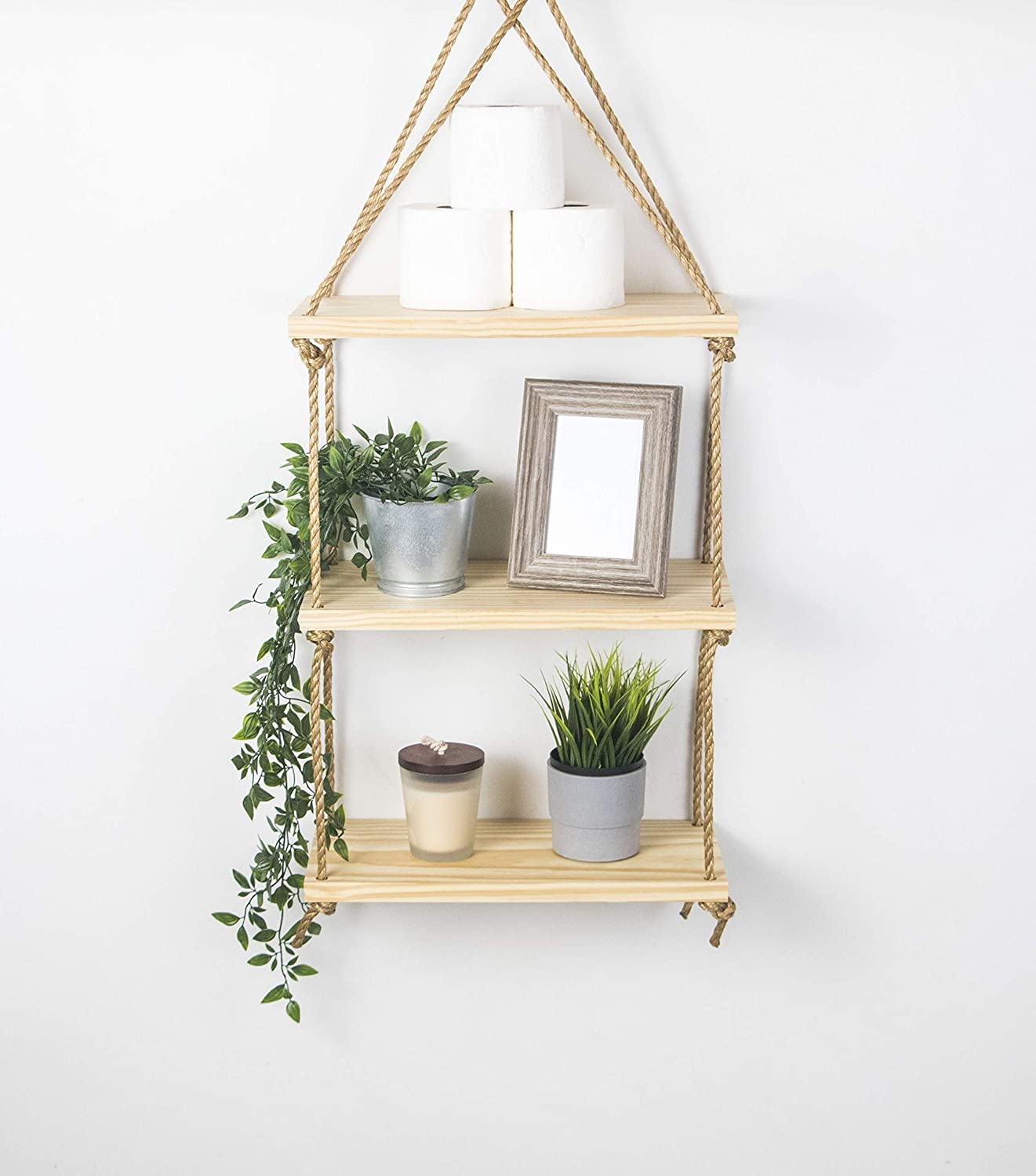 Rustic Hanging Jute Rope Plants 3 Tier Floating Wood Wall Shelves /& Hook Swing Hardware include Latitude 23 Belay Organize and Display Decor Photos