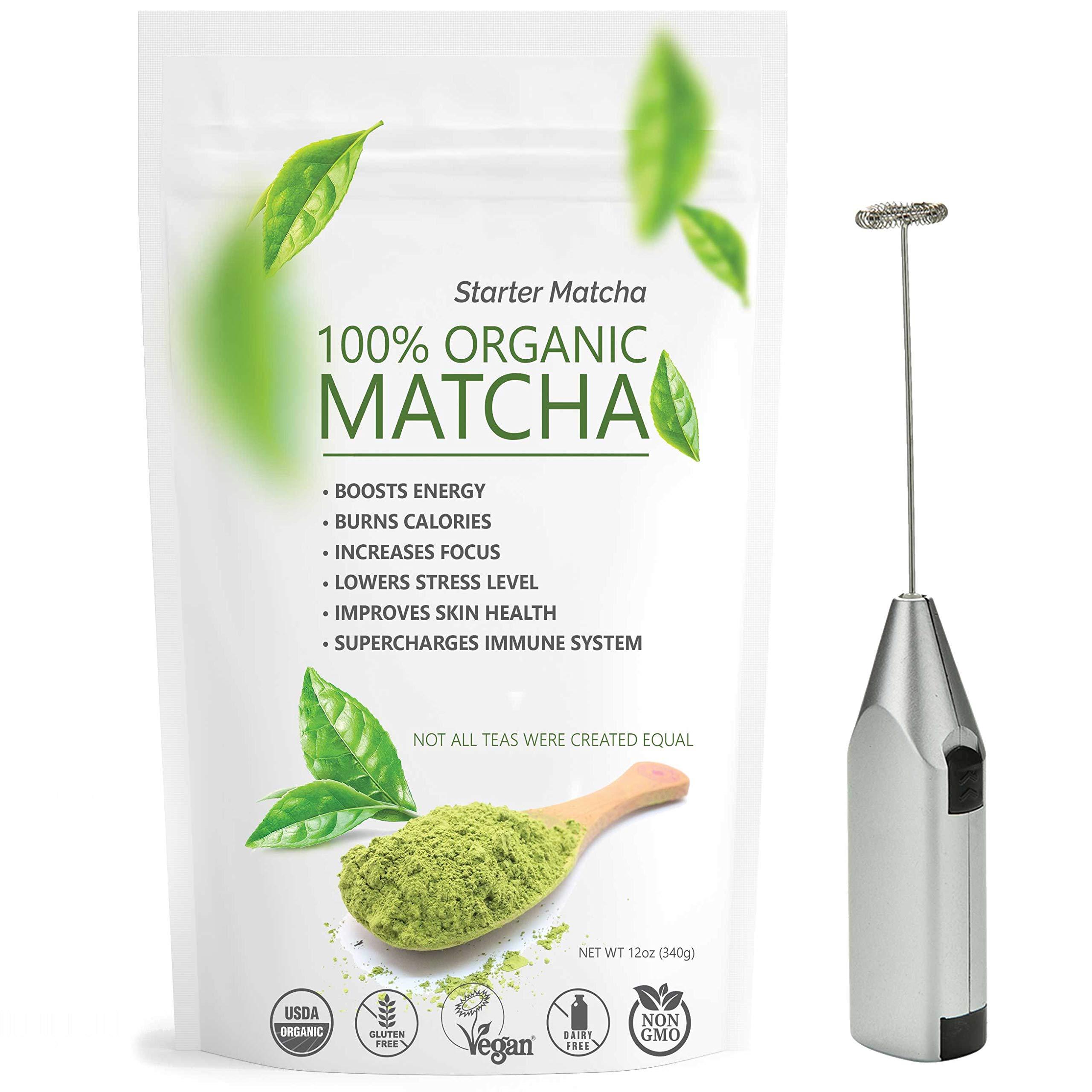 Starter Matcha Green Tea Powder 12oz + Electric Frother Bundle | USDA Organic | Vegan | GMO-Free | Matcha for Baking | Latte | Smoothie | Cookies | Ice Cream by Matchaccino