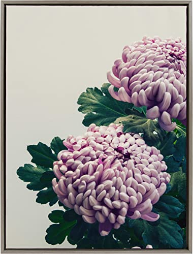 Kate and Laurel Sylvie Chrysanthemum Flower Framed Canvas Floral Wall Art