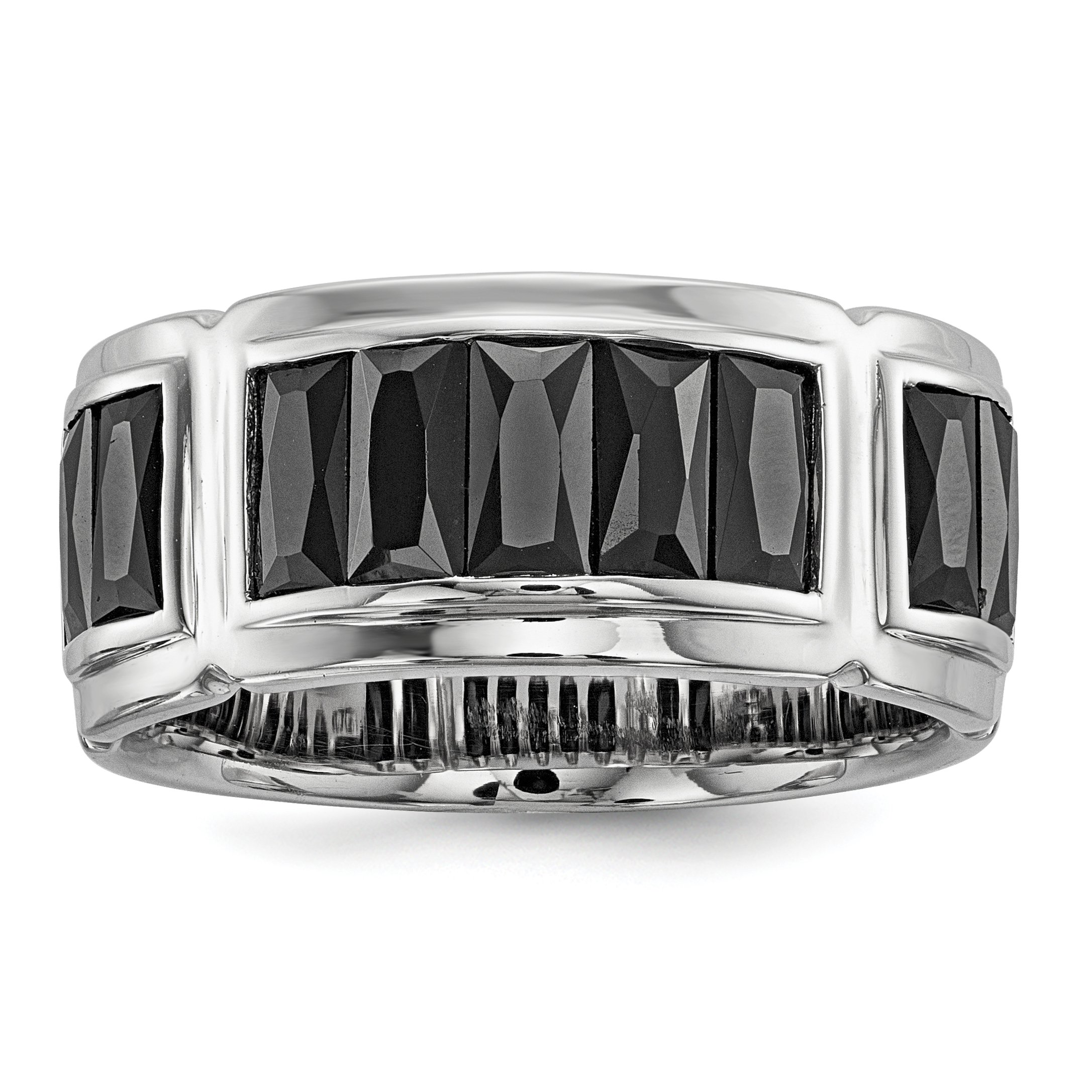 ICE CARATS 925 Sterling Silver Black Cubic Zirconia Cz Grooved Band Ring Size 11.00 Man Fine Jewelry Gift Set For Women Heart