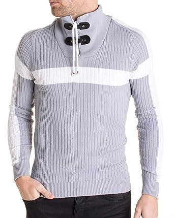 f4418116dea BLZ Jeans - Pull Gris 6645 à Bande Blanche pour Homme  Amazon.fr  Vêtements  et accessoires