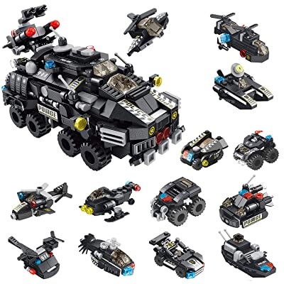 CLOURF City Police Armored Vehicles Building Toy kit 12in1 Compatible Most Major Brands Building Bricks: Toys & Games