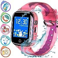 Kids Smart Watch Waterproof Kids Tracker Watch for Boys Girl, Children Smart Watch Phone Kids GPS Watch with Camera SOS Two-Way Calling Touch Screen, Back to School Supplies (Pink)