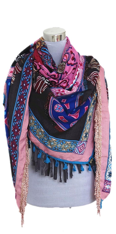 Damen Schal Hippie Look Rosa Mehrfarbig Patchwork mit Fransen und Quasten WL6001