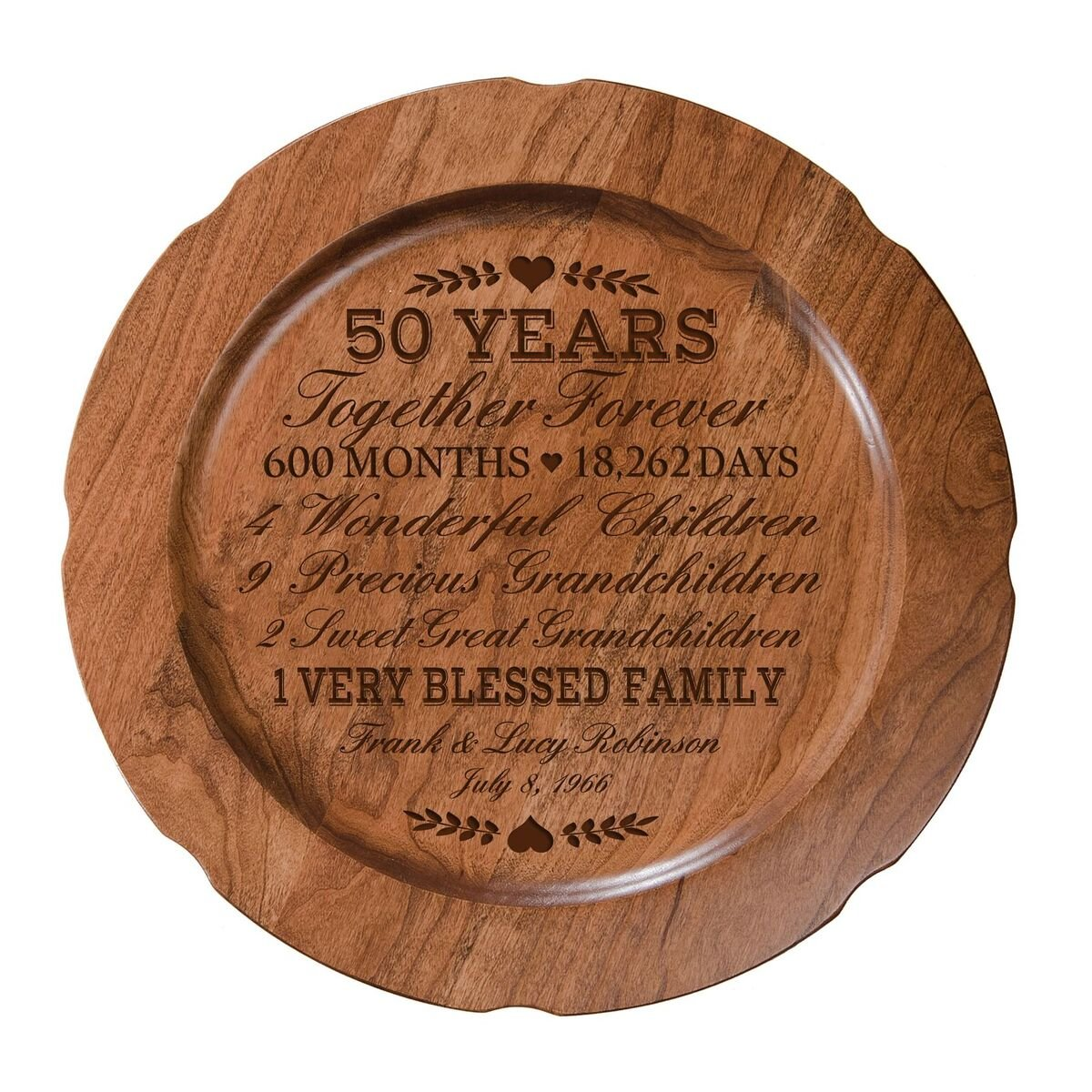 LifeSong Milestones Personalized 50th Wedding Anniversary Plate Gift for Couple, Custom Happy Fiftieth for Her, 12'' D Custom Engraved for Husband or Wife USA Made (Special Dates)