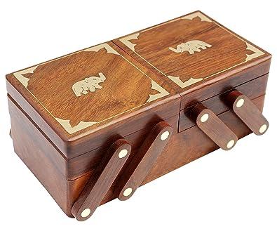 Amazon.com: ITOS365 Joyero de madera hecho a mano, caja ...