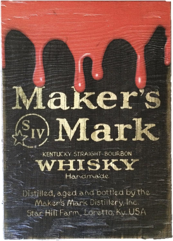 Makers Mark Wooden Black Pub Sign