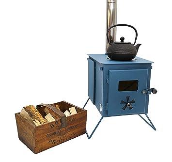 Outbacker® Firebox Eco Burn – Estufa portátil de Quemado secundario, Azul petróleo