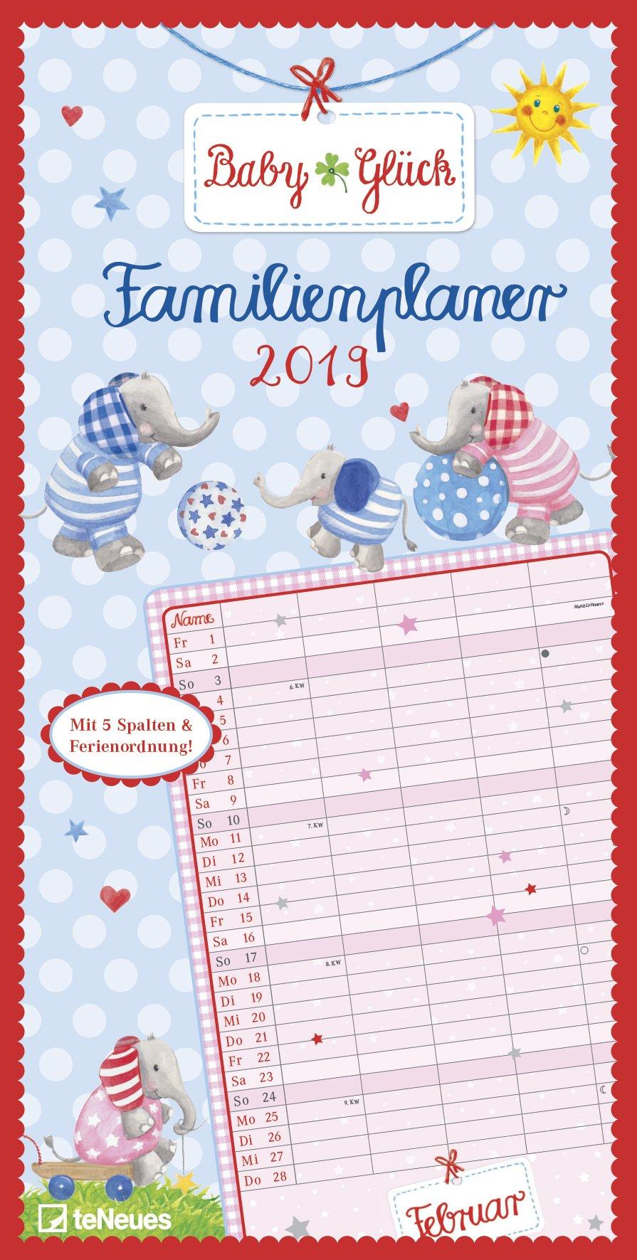 BabyGlück 2019 - Wandkalender, Spaltenkalender, Familientermine  -  23 x 45,5 cm