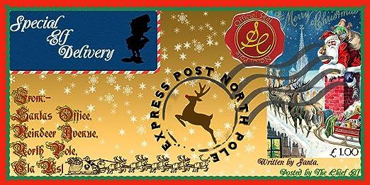 Paquete de 5 sellos de copo de nieve de Navidad entrega especial Polo Norte express sobre