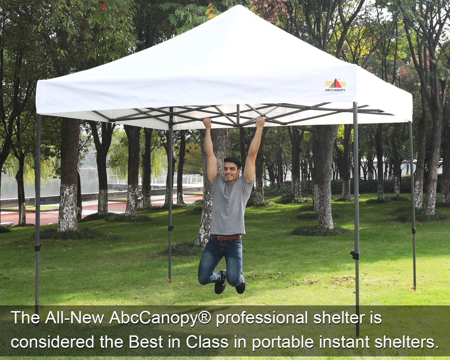 ABCCANOPY Canopy Tent 10 x 10 Pop Up Canopies Commercial Canopies Market Stall Roller Bag Bonus 4 Weight Bags, Strip Red