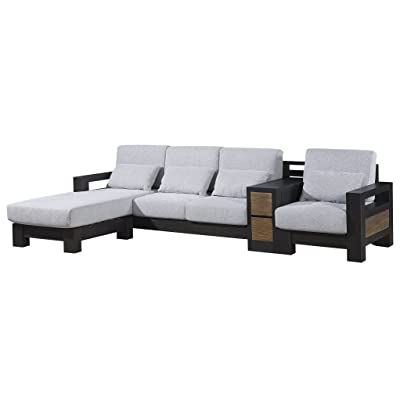 Amazon.com: Wood Corner Sofa Sectional Sofa With Foam-rubber ...