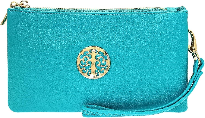Wristlet Shoulder,Cross-Body Bags 3141 Long /& Son Womens Small Clutch Green Blue