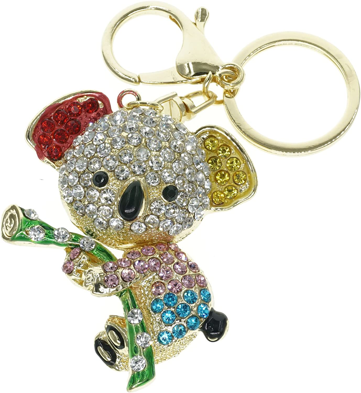 Cooplay Lovely Koala Animal Cristal de diamant Strass Cristal Dor/é Porte-cl/és Charm pendentif Beau Accessoires le meilleur Cadeau pour filles//femmes Wallets Multi-color