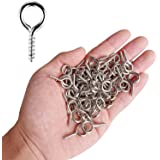 AxeSickle Small Screw Eye 100PCS 1 inch Silver Color Zinc Plated Metal Cup Hooks Eye Shape Screw Hooks Self-tapping Screws Hooks Ring.