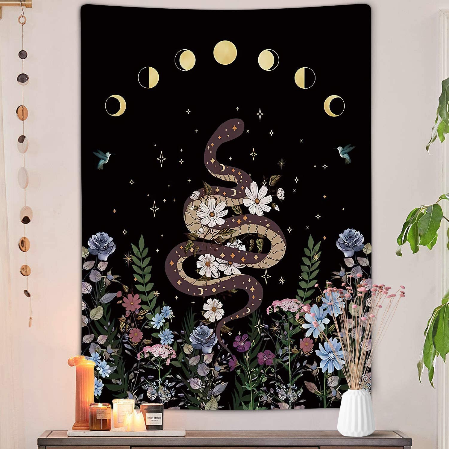 Trippy Floral Moon Vertical Tapestry, Aesthetic Flower Black Witchy Tarot Decor Tapestry Wall Hanging for Bedroom, Nature Woman Tapestries Poster Blanket College Dorm Home Decor (Snake, 36W X 48H)