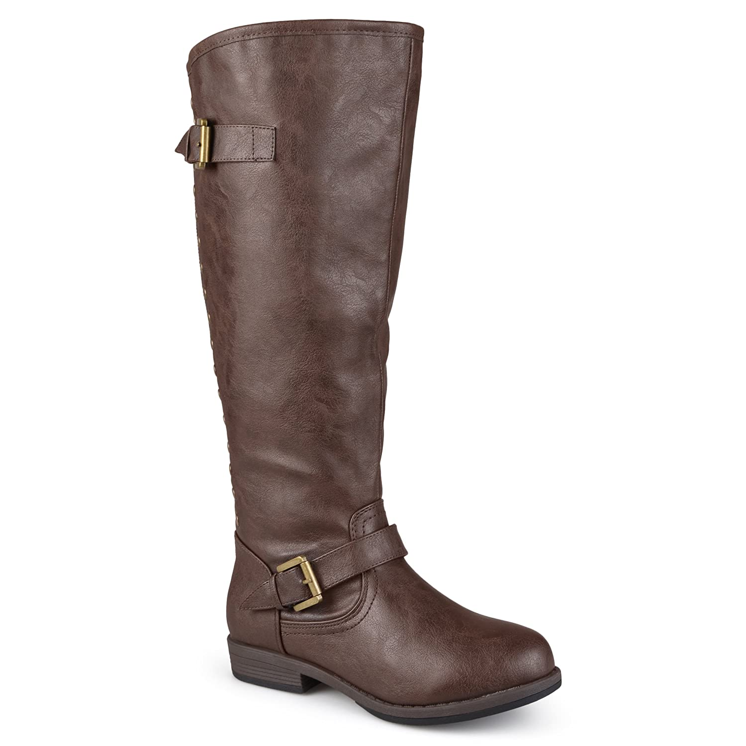 Journee Collection Womens Regular Sized, Wide-Calf and Extra Wide-Calf Studded Knee-High Riding Boot B00FBZXX62 9 W US|Brown