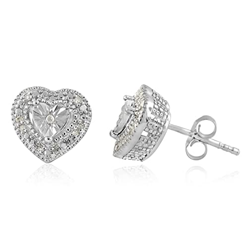 3eaf9ea4fa1da Sterling Silver White Diamond Solitaire Look Stud Earrings