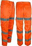 Da uomo, ad alta visibilità in policotone materiale Pantaloni Cargo modello Combat, colore: giallo/arancione