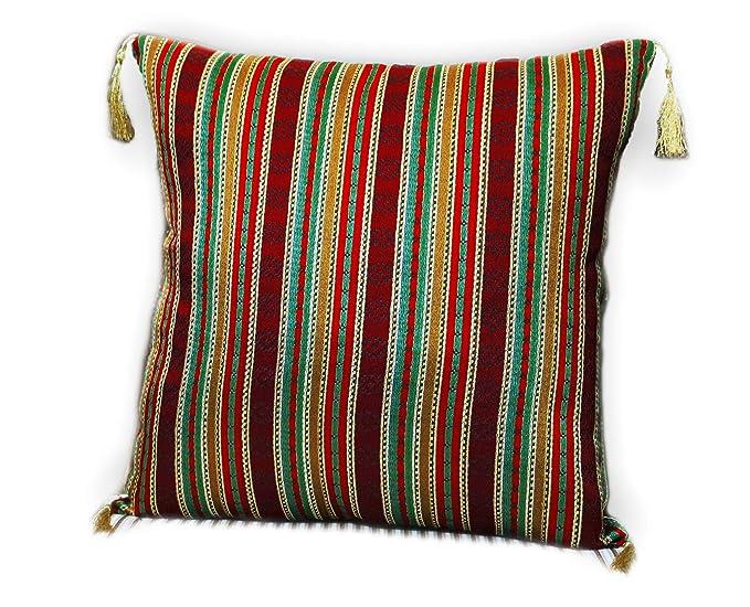 40 cm x 40 cm Weiß,Rot,Gelb,Orange,Grün,Goldglänzende Fäden,Kissenbezug,Kissenhülle,Orientalische Dekokissen,Orientalische St