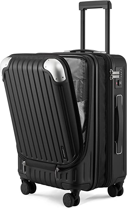 LEVEL8 Carry-ons Expandable Hardside Suitcase PC+ABS Spinner Built-in TSA Lock 20in Luggage (Black-Expandable, 20 Inch)