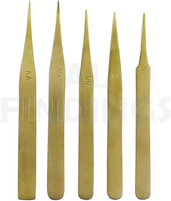 Brass tweezers x5 set for watchmakers jewellery pickle pickling /& electronics