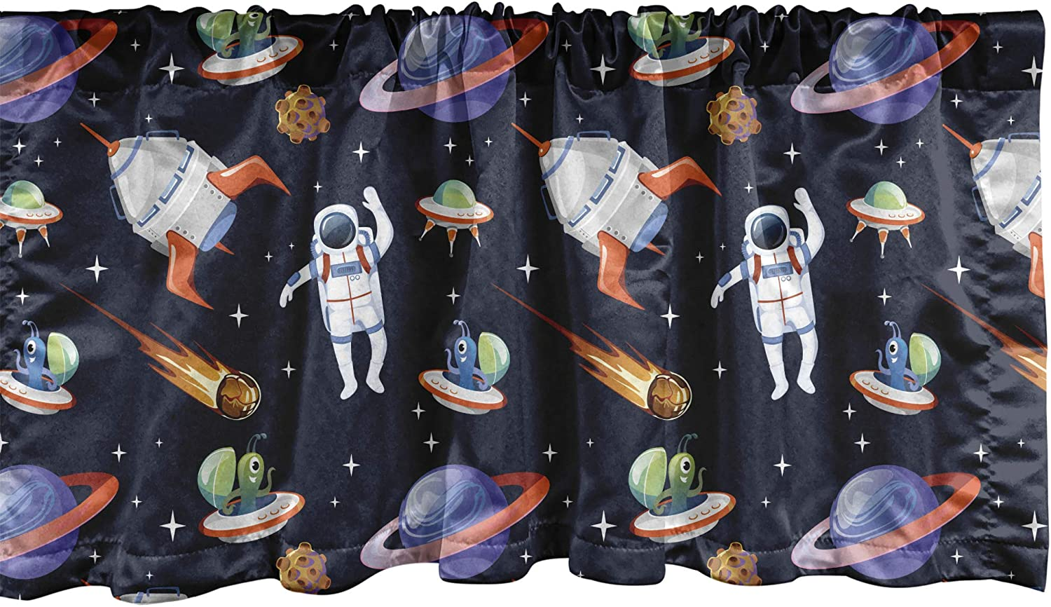 Ambesonne Alien Window Valance, Galaxy Asteroid Astronaut UFO Spaceship Outer Space Themed Pattern, Curtain Valance for Kitchen Bedroom Decor with Rod Pocket, 54
