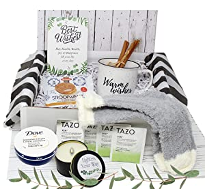 Sympathy Gift for women | Thinking of you gift basket | BFF Self care gift Women's Birthday Gift Box Care Package Mom, Wife, Relaxing gift set for her | Encouragement military gift w/ snacks mug…