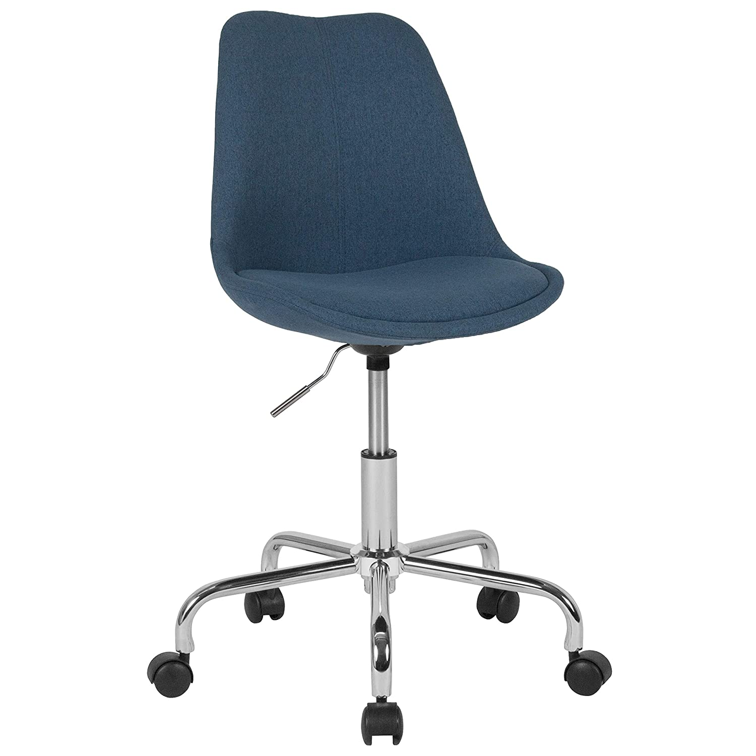 Flash Furniture Aurora Series Mid-Back Blue Fabric Task Office Chair with Pneumatic Lift and Chrome Base
