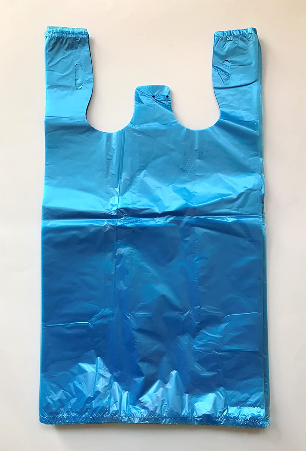 (100) - RG Large Plastic Grocery T-shirts Carry-out Bag Blue Unprinted 12 X 6 X 21 (100) B0719SCLK7  100