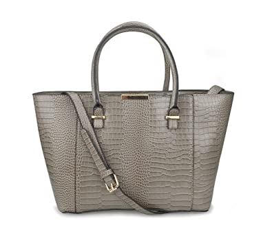 04d6a3663 Hoxis Chic Crocodile Pattern Golden Tone Tote Faux Leather Womens Tote Bag  with Detachable Strap (