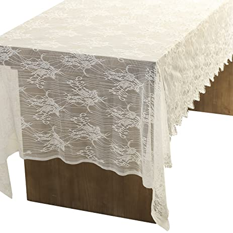 Lingu0027s Moment 62x120 Inch White Wedding Lace Tablecloth Overlay, Fall  Thanksgiving Christmas Rustic Chic Wedding