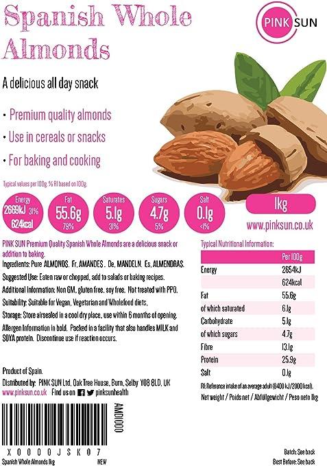 PINK SUN Almendras Enteras Crudas 1kg Con Piel Español No tostado Sin Sal Natural Pieles 1000g a Granel Frutos Secos Sin Cáscara - Raw Whole Almonds ...