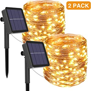 kolpop Solar String Lights Outdoor, Solar Powered Fairy Lights 240 LED 8 Modes Garden Copper Wire Waterproof Decoration Lighting for Tree Patio Christmas Camping Wedding Party Warm White